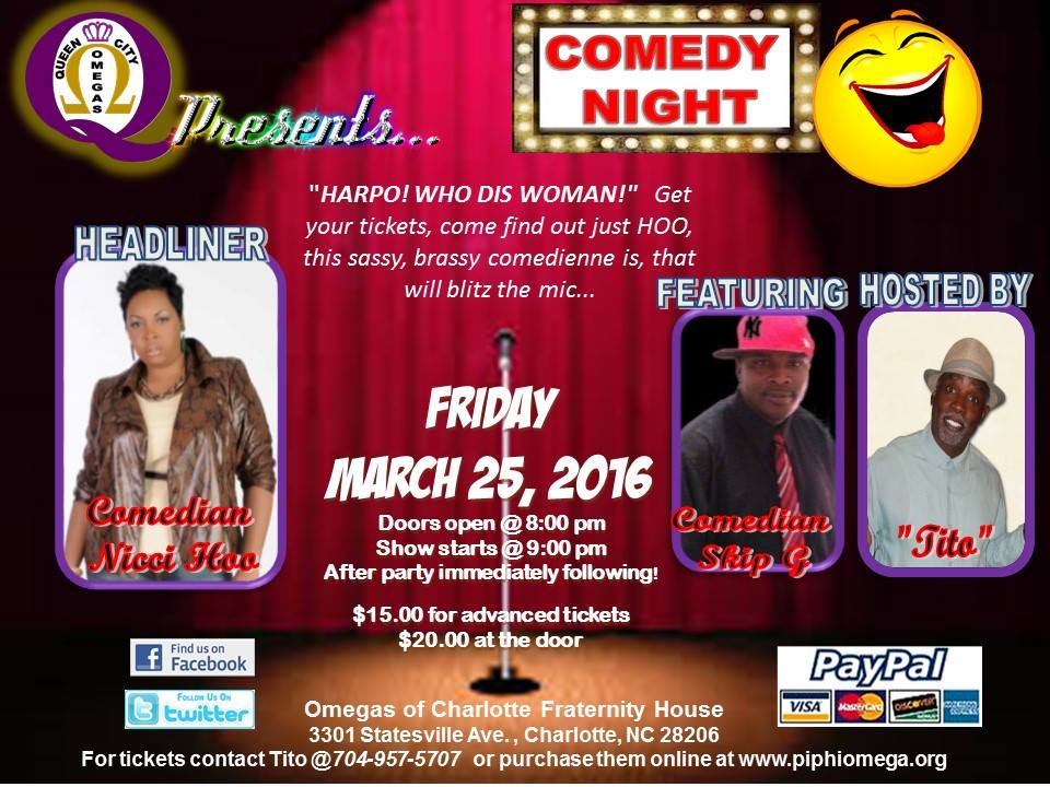 The Queen City Omegas Monthly Comedy Night